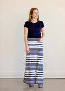 Inherit Co.  | Modest Maxi Skirts Online | Stylish Pinafore Skirts | Navy and White Striped Maxi Skirt