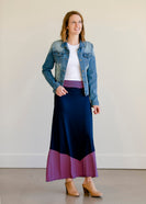 Pink and Navy Colorblock Maxi Skirt - FINAL SALE