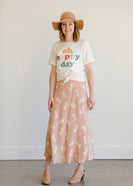 Inherit Co.  | Blush Striped Floral Midi Skirt