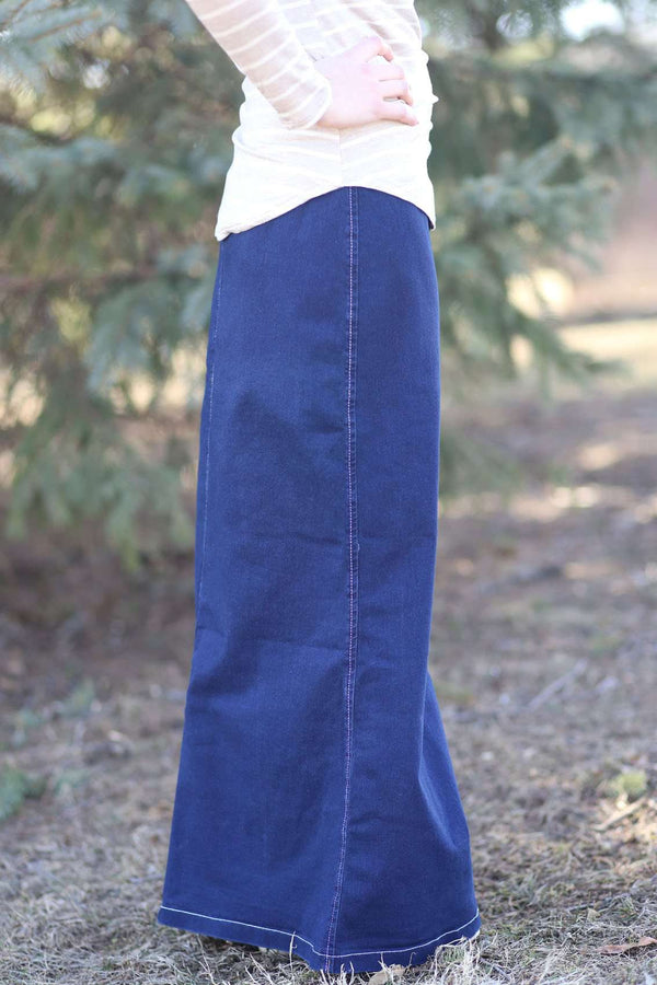 Lounge-N-Denim Long Jean Skirt | Modest Skirt Sizes 2-14