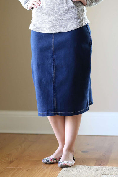 Lounge N Denim Skirt Below Knee Length Jean Skirt The