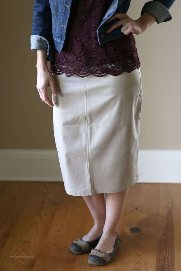 Lounge-N-Khaki Skirt | Below Knee Twill Skirt Sizes 2-14