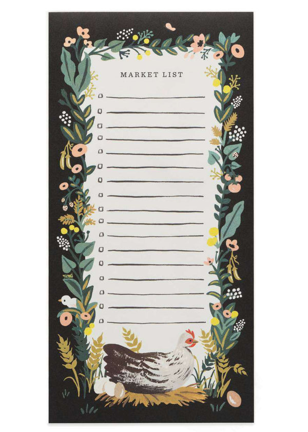 Modest gifts market tear off shopping list black with chickens and floral