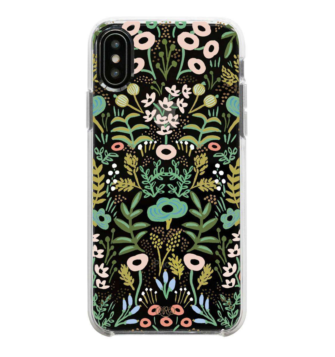 Modest women's boho print floral pink green mint gold iPhone cover
