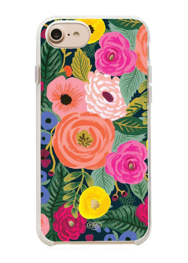 Women's pink and green floral iPhone clear cover