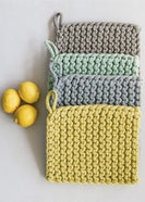 Cotton Crocheted Pot Holders in Gray, Mustard, Mint and Blue
