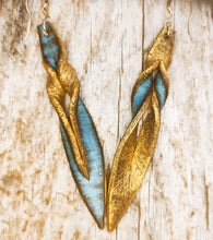 Turquoise leather earring
