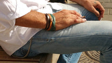 Turquoise with vintage brown wash bracelet