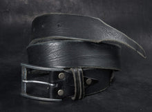 Black leather belt - Narrow tail with straps