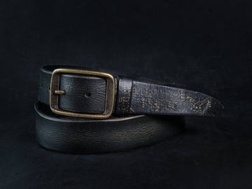Electeic Leather Belt - Black & Gold
