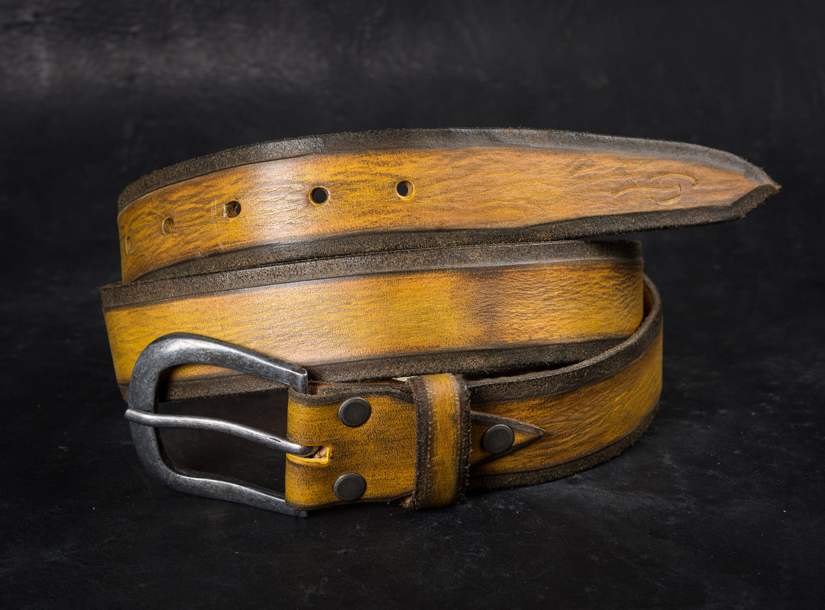 Yellow Belt, Leather Belt, Unique Leather, Leather Father's Day Gift, Accessories for Father, Unisex Belt, Leather for Her, Crafted Belt