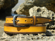 Yellow belt with vintage brown wash and dark edges