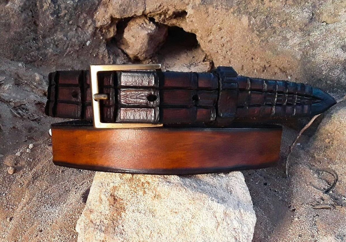 Brown Belt, Mens Belt, Men's Leather Belt, Narrow Belt, Handcrafted Belt, Wedding Belt, Mens Gift, Suit  Boyfriend Gift, Ishaor  Belt