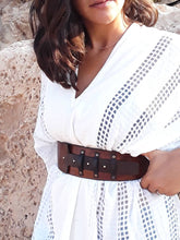 Wide waist leather belt - Brown Train