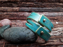 Turquoise & Gold leather bracelet