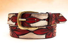 Flowers Belt - White & Red