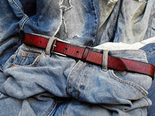 Narrow Red belt with Black wash