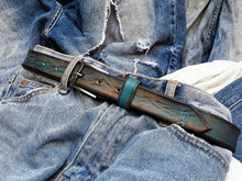 Narrow Turquoise belt with brown vintag wash