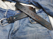 Blue belt with brown vintage wash