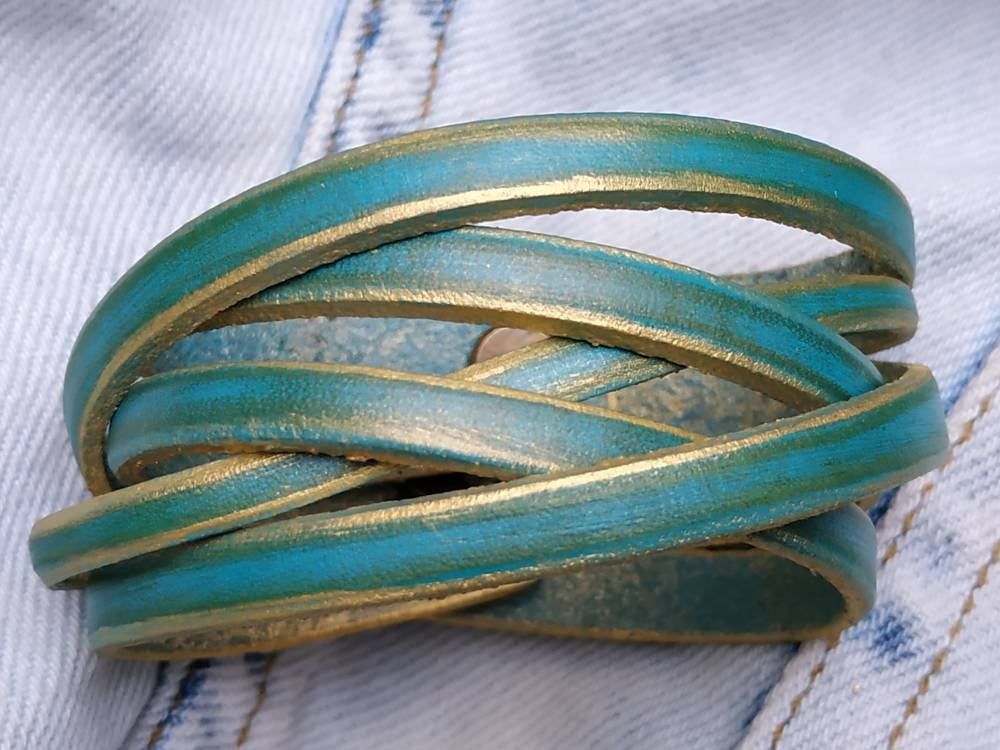 Leather Wrap Bracelet, Leather Cuff Bracelet, Turquoise Womens Bracelet, Leather  Wristband, Womens Gift, Leather Anniversary Gift
