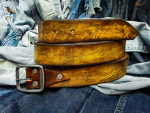 Yellow belt with dark brown wash - mediume