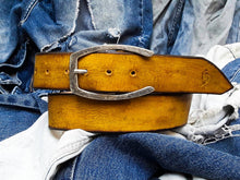 Yellow wide belt with light brown wash and silver buckle