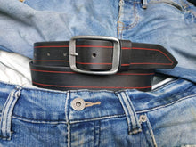 Black leather belt with red line