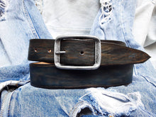 Blue leather belt with brown vinage wash