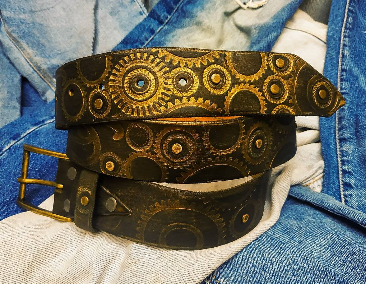 Dark Brown Leather Belt, Artistic Belt, Men's Gift, Unique Belt, Bikers Gift, Wedding Gift, Rustic Style, Ishaor