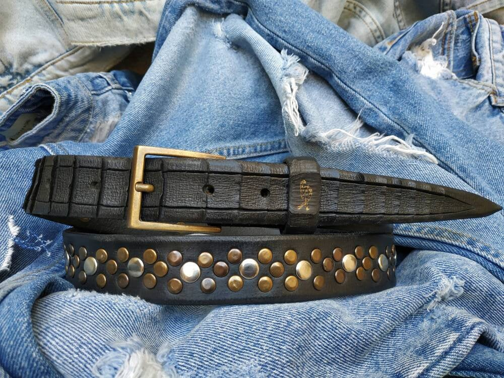 Black Belt, Mens Belt, Men's Leather Belt, Narrow Belt, Handcrafted Belt, Rivets Belt, Mens Gift,  Boyfriend Gift, Metal Belt, Rock belt