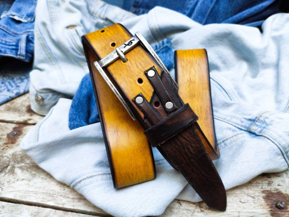 Crafted Belt, Accessories for Father, Unique Leather, Yellow Belt, Quality Leather, Leather Belt, Leather Belt with Buckle, Leather Belts