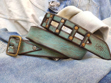 Square belt - turquoise and brown wash