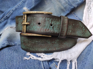 Turquoise belt with vintage wash - wide belt