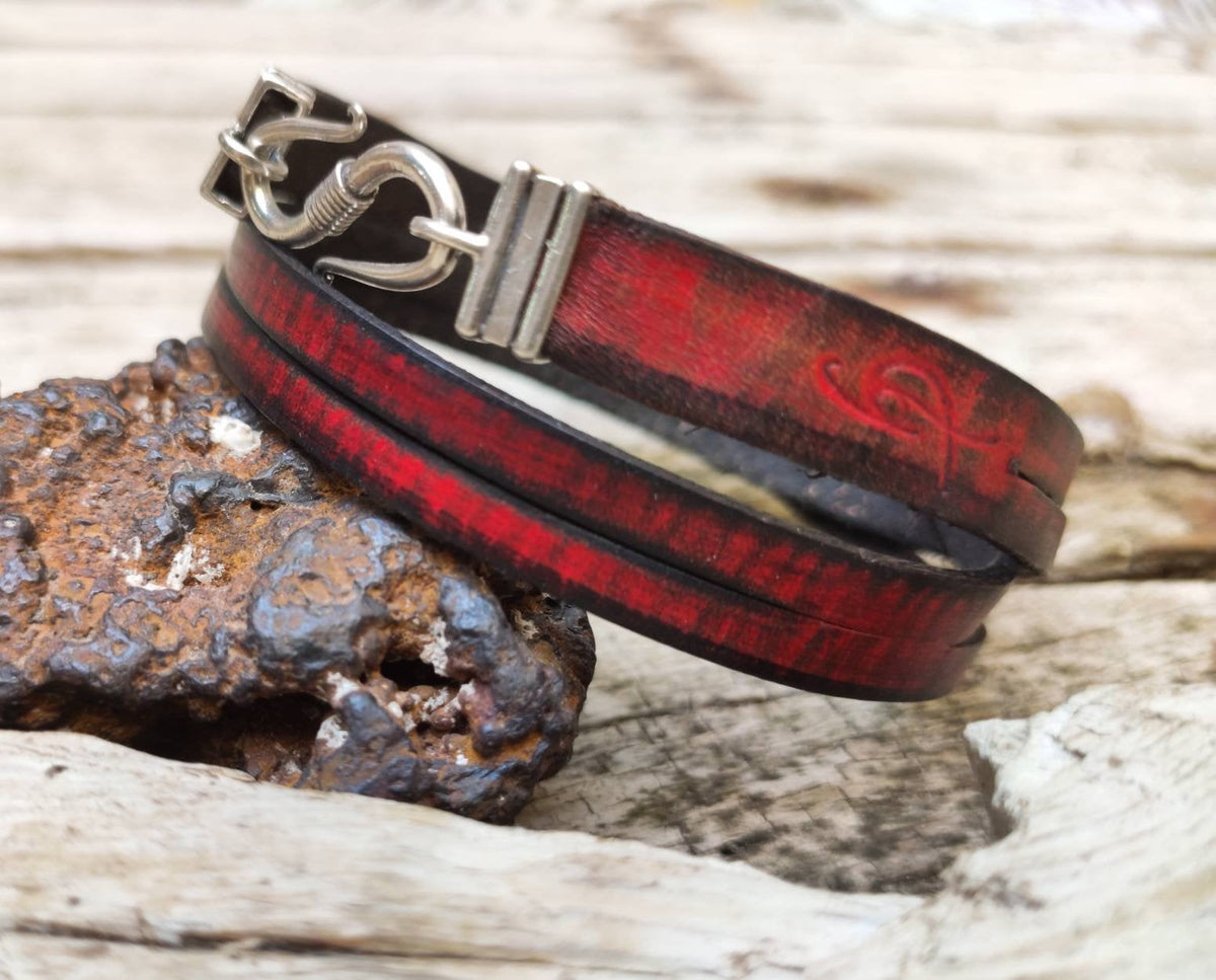 Red Leather Bracelet, Men's Bracelet, Men's Leather Bracelet, Wrap Bracelet, Leather Cuff, Men's Cuff, Genuine Leather, Cuff with Clasp