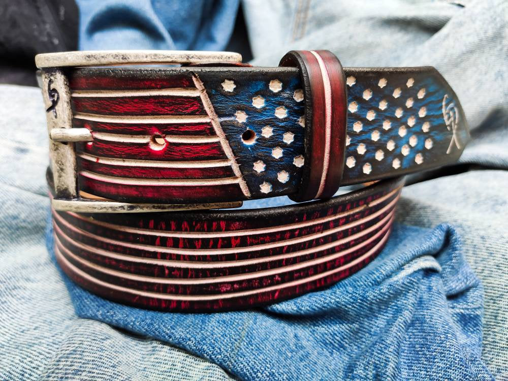 Artisan Leather, USA Belt, Men's Belt, Leather Belt, Men's Leather Belt, Jeans Belt, Fashion Accessories, Men's Gift, American flag