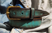 Turquoise belt with brown wash