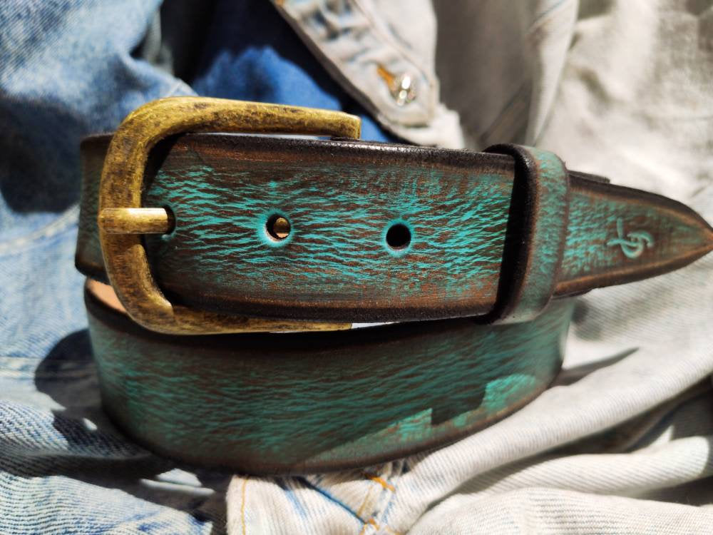 Men's Leather Belt, Turquoise Belt, Mens Leather Accessories, Custom Leather Belt, Genuine Leather, Leather Belt, Men's Belt, Belt for Him,