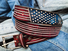 American Flag - leather belt