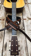 Leather Guitar Strap, brown leather guitar belt with Ishaor logo and triangle, personalized guitar strap, gift for musician,