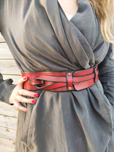 Red & black - waist leather bag