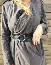 Black waist belt with ring