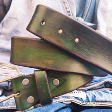 Green leather belt with brown wash