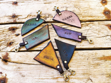Personalize leather family keychain