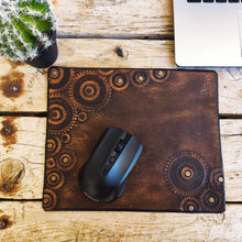 Leather mouse pad with gear stamps