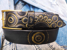 Handmade black leather belt embellished with gold stamps of motorcycle gear stunning belt for bikers the perfect gift for Motorcycle lovers