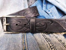 A black leather belt decorated with ishaor logo, unique handmade leather belt by ishaor ,perfect gift for men's that like specials products