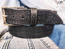 Ishaor Handmade Black leather belt  with stamps of RCA A stunning and original belt with vintage finish from Genuine full grain leather