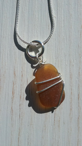 Amber/Brown Beachglass Necklace