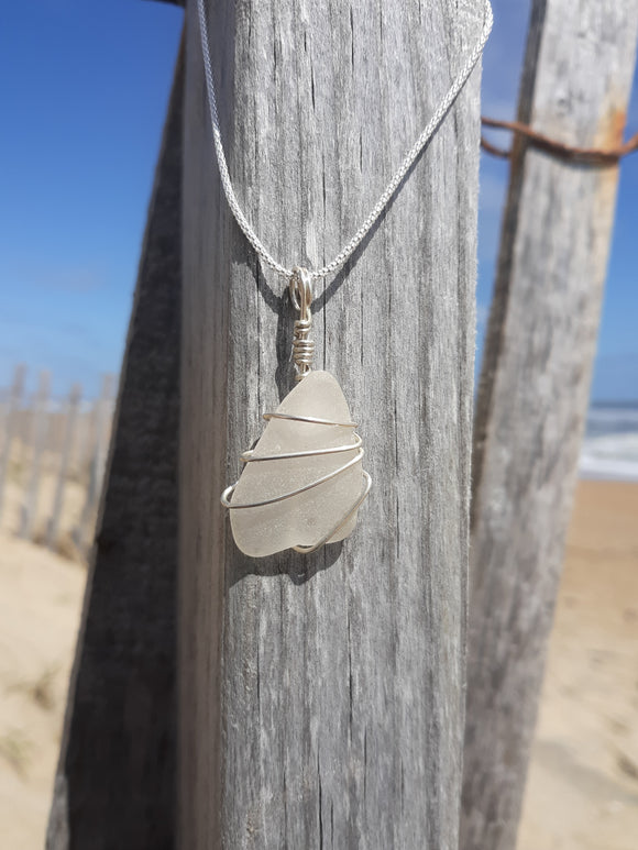 White/ Frosted Clear Beachglass Necklace