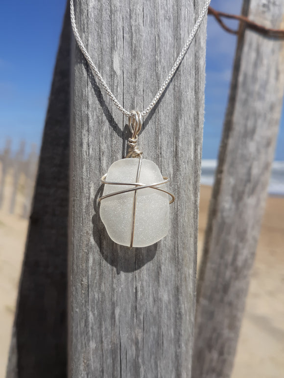 White/Frosted Clear Beachglass Necklace